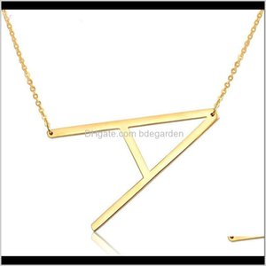 Pendants Drop Delivery 2021 Personalized Letter Pendant Necklace Gold Sier Stainless Steel Chain Custom Name Necklaces Initial Charm Jewelry