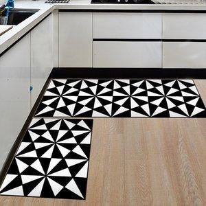 2pcs set Black And White Flannel Floor Mats For Kitchen Anti-Slip Kids Bedroom Carpet Entrance Hallway Area Rug