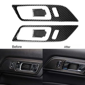4PCS Carbon Fiber Inner door handle and bowl Sticker Door Panel Protector Strip For Ford Mustang 2015-2017 Car Accessories