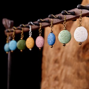 Bronze Retro Lava Stone Charms Earrings DIY Essential Oil Diffuser Jewelry Women Volcanic beads Earring