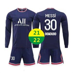 EUA Fast 2021 Home Jerseys Futebol Desgaste de Treinamento para Adultos Tracksuit 21 22 Messi Jersey Kit de manga comprida Sets Sportswear Kids Football Shirts Uniformes 2022 com logotipo # blz-21a1