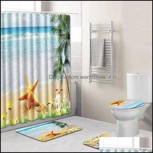 Aessories Bath Home & Gardeth Aessory Set 4Pc Ocean Series Bathroom Rug Shower Curtain Skidproof Toilet Non-Slip 6X Hooks 4075# Drop Deliver