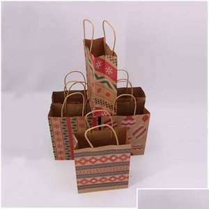 Wrap Event Festive Supplies & Garden Drop Delivery 2021 Gift With Handle Printed Kraft Paper Kids Party Favors Bags Box Christmas Decoration