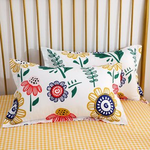 Pillow Case 2pcs 48x74cm High Quality Cotton Pillowcases Pillows Cover Soft Breathable Printed For Home Bedroom