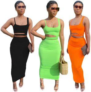 اثنين من قطعة اللباس الصيف النساء فساتين + أعلى قصيرة أكمام السباغيتي حزام مجموعة من الجوف خارج الترفيه المنزل نمط تنورة تناسب المرأة الملابس D990