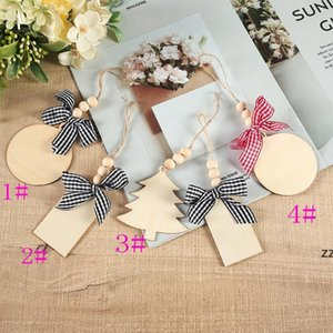 DIY Wooden Christmas Pendant Decoration Sublimation Blanks Xmas Tree Hand-painted Sign Board Crafts Pendants ornament With Plaid HWD9937