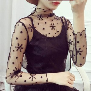 Women's Blouses & Shirts 2021 Summer Sexy Tops Plus Size Blouse Women Lace Casual Mesh Crocheted Hollow Inner Pullover Long Sleeve