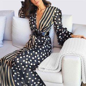Повседневные платья для женщин Boho половина рукава волна точка мода дамы вечерние панеты длинные платья сексуальная одежда PROM 2021