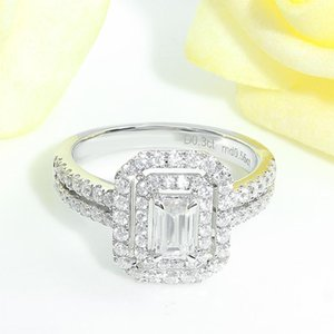 White Gold Center Emerald Cut Double Halo Moissanite Engagement Ring For Women Aniversary Gift Cluster Rings