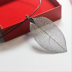 Vintage Charms Leaf Pendant Necklaces Natural Statement Sweater Neckalce For Women Gift Wholesale