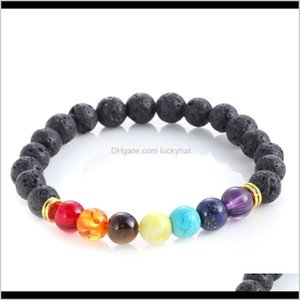 Beaded Strands High Quality Chakra Bracelets Womens 8Mm Black Lava Rock Turquoise Stone Beads Charms Buddha Bangle For Men S Fashion C Yrd0C