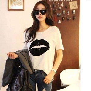 2021 summer T-shirt Korean lip print loose fitting dress women's short sleeve bottom coat