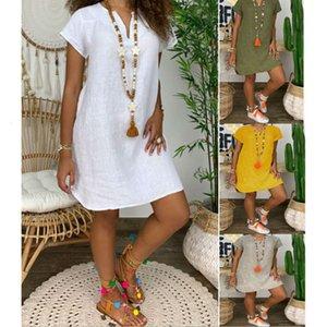 Casual DressesSummer loose solid short sleeve V-neck cotton linen dress for women