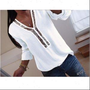 Women Shirt Plus Size Clubwear Sequin V necks Tops Long Sleeve Tunic Baggy Loose Blouse T Shirts Chiffon Comfy Top
