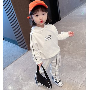 Hooded Spring Summer Children's Clothes Set Baby Girls Sweatshirts + Pants 2pcs Set Kids School Beach Outdoor Teenage Girl Cloth X0401