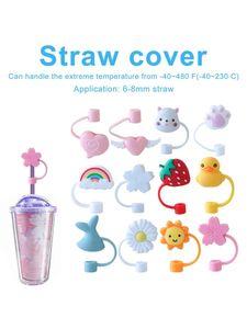 Cartoon Shape Cover Decorative Cute Fashion Drinking Protector Straw Topper Silicone Straws Plug for Decor