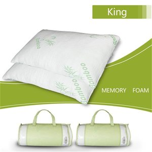 US stock Hypoallergenic Bamboo Fiber Memory Foam Pillow King soft and comfortable breathable absorbs sweat anti-bacteria anti-mite (Single)