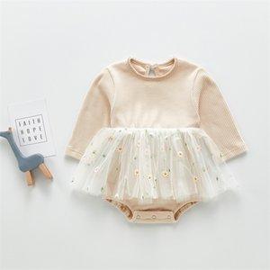 3461 Baby Girl's Clothes for Summer Short Sleeve Elegant Skirt With Fart Small Flower Mesh Skirt Rompers 722 S2