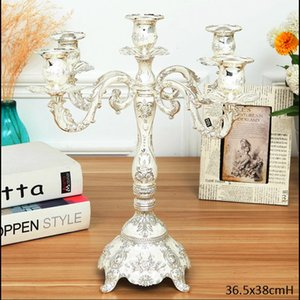 Vintage Classic Embossed Rose Flower Design Shiny Silver Plating With White Hand Painted Table Decor 5 Cups Stick Candle Holder Holders