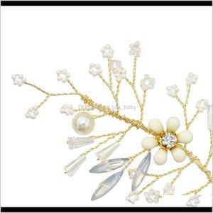 Jewelry Gold Wedding Heaband Bohemian Headpiece Crystal Pearl Vine Flower Halo Bridal Hair Accessories 1Adho 4Nyci