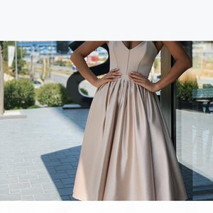 2021 Sexy Plus Size Cocktail Dresses Modest Sweet-heart Neck Zipper Tea Length Short Prom Dress Fashion Champagne Woman Party Dress 2020