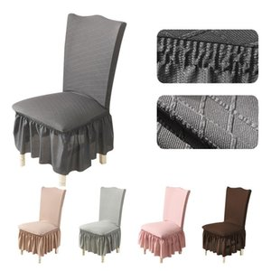 Universal Jacquard Dining Chair Covers With Elastic Seat Cover Banquet Living Room Furniture Protective