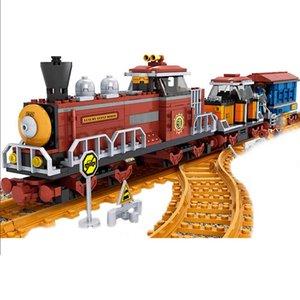 AUSINI 662PCS ALANWALLALE Классический американский паровой паровоз поезда Модель строительных блоков кирпича Playset железная дорога 25710 x0503