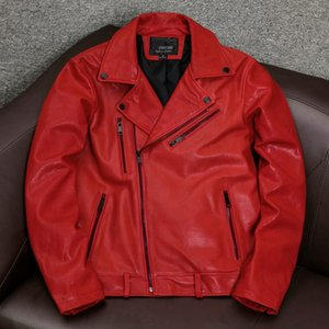 أحمر جلد طبيعي سترة الرجال الربيع 2021 دراجة نارية جلد الغنم معطف الكورية نمط جاكيتات زائد الحجم 4xl chaquetas hombre pph4122 الرجال فو