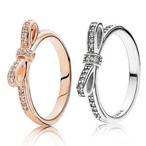 Bague mousseuse en argent sterling 925 Set Boîte d'origine pour Pandora Grain Femmes Mariage CZ Diamant Bowknot 18K Rose Ring Ring