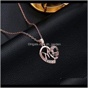 Necklaces & Pendants Drop Delivery 2021 Love Mom Mama Sier Plated Jewelry Gift For Mother Mum Letters Hollow Heart Pendant Necklace Wholesale
