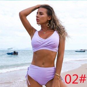 2021 One-Piece Suits Amazon swimsuit European and American bikini female sexy high waist pure color Beach equipment 25
