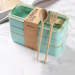 Wheat Straw Healthy Material Lunch Box 3 Layer 900ml Straws Bento Boxes Microwave Dinnerware Food Storage Container YHM877-ZWL