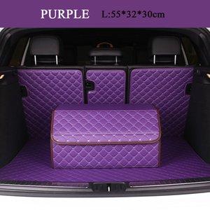 purple Luxury leather Car Storage Bag Trunk Organizer Box Folding High Capacity Multi-use woman Auto waterproof Universal Accessorie