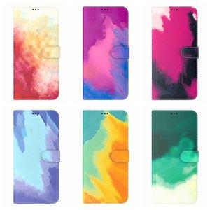 Мода Цветные чернила рисуют кожаные кошельки для iPhone 11 12 Pro Max XR XS XS X 8 7 6 PLUS 2021 акварель TPU красочный держатель для краски кредитный идентификатор карты флип крышка