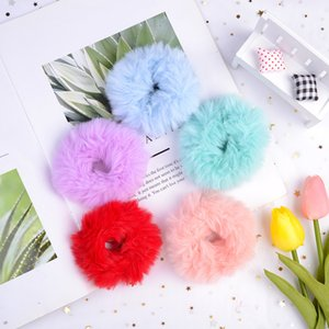 Fur Headband Rope Scrunchie Scrunchy Women Girls Elastic Solid Head Band Ponytail Holder girl hair accessories