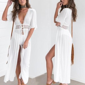 Women Beach Cover Up Tunic Lace White Long Pareos Bikini Sarong Bathing Suit Kaftan Dress Beachwear Women's Swimwear