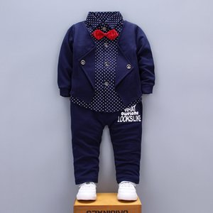Spring Autumn Children Boys Girls Clothing Sets Kids Fashion Clothes Baby Gentleman T-shirts Pants 2Pcs Sets Toddler Tracksuit 135 Q2