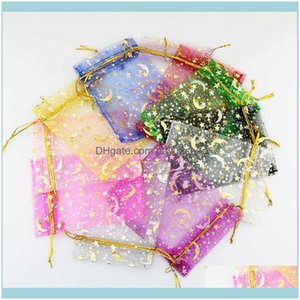 Pouches, Display Jewelry100Pcsmoon Star Organza Small Christmas Dstring Gift Bag Charm Jewelry Packaging Bags & Pouches 7X9 9X12Cm Drop Deli