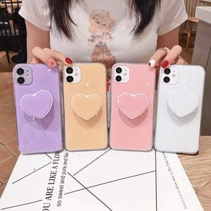 2021 New Candy Painted Epoxy Phone Case with Heart-shaped Stand for iPhone