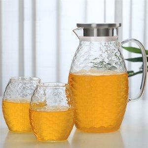 Large Capacity Glass Fish Scale Water Pot Cold Kettle Lemonade Heat-resistant Explosion-proof Heatable Carafe Juice Jug Teapot 210409
