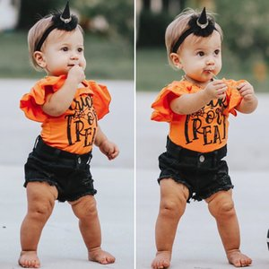 XYBB INS Summer Little Girls Clothing Sets Ruffles Rompers with Denim Pants 2Pieces Set Cotton Children Bountique Kids Baby Outfits