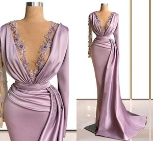 Plunging V Neck Mermaid Prom Dresses Arabic Lace Appliqued Long Sleeves Ruched Satin Evening Gowns Beaded Women Formal Wear Special Occasion Dress AL8892