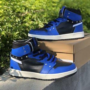 2021 جودة عالية Jumpman 1 أحذية كرة السلة النسائية أحذية رجالية أزرق أسود رياضي رياضي مع صندوق