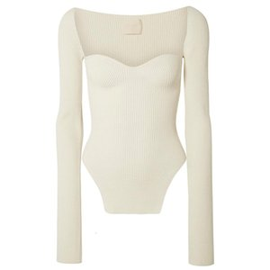 New spring and summer fashion women clothes cashmere sqaure collar full sleeves elastic high waist sexy pullover 011902