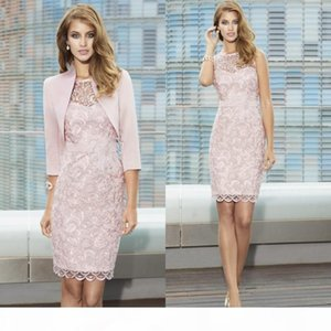 Peral Pink Full Lace Mother of The Bride Gowns with Jacket Sheer Jewel Neck Knee Length Cocktail Dress For Wedding Grooms Mother Dresses