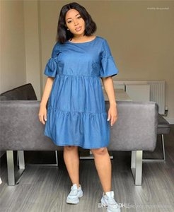 Casual Peplum Loose Ladies Dress Summer Short Sleeve Crew Neck Clothing Plus Size Designer Womens Dresses Blue