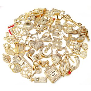 Encantos de joias de liga de 50 pcs com banhado a ouro e strass colorido misturado apto delicado para as mulheres