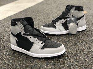 2021 صدر Jumpman 1 1S ارتفاع og Shadow 2.0 كرة السلة الأحذية السوداء السوداء المتقدمة رمادي الأزياء المدربين جلدية فاخر مصمم أحذية رياضية كاملة الحجم 36-47.5 مع مربع