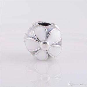2021 925 Sterling Silver White Enamel Darling Daisies Clip Charm Bead Fits European Pandora Jewelry Bracelets & Necklaces Pendants