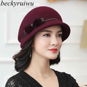 En iyi 100% Avustralya Yün Fedoras Kadınlar Sonbahar Kış Kilise Cloche Şapkalar Zarif Ziyafet Vizon Kürk Fedora Şapka